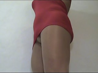 crossdresser Erica pantyhose red