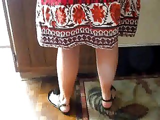 Upskirted my mother in the kitchen