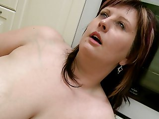 Floppy Titted Chubber Plays in the Kitchen