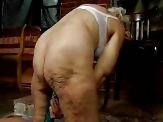 Hairy Granny with dildos