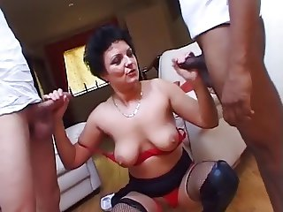 Hot Horny British Milf Fucks Two Young Cocks !