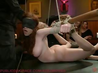 Brunette is tied up and abused and gets played with by many
