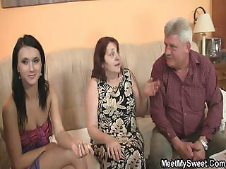 Innocent girl is seduced by granny and fucked by old daddy