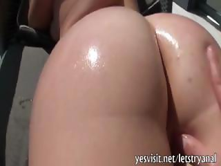 Sexy amateur American girlfriend tries out anal with her boyfriend for the first time