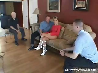 Brunette wife needs a little help in the sex dept. so hubby watches her get hammered