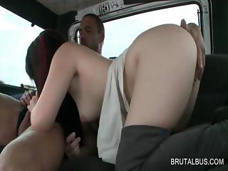 Horny bitch gets her quim rubbed in the bus