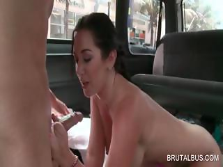 Threesome in the bus with slut giving BJ