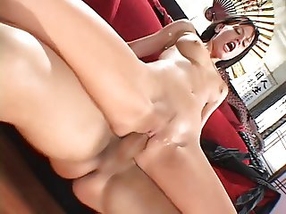 Young brunette with blue eyes and great tits sucks and fucks bald dude's cock