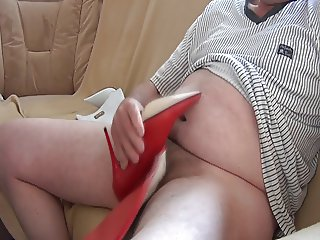 Jerking and Fucking red Leather Boots