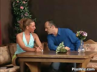 Pissing and fucking action on the table part2