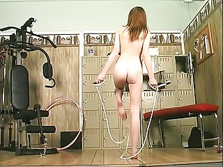 Sexy brunette gym rat spreads cute white ass