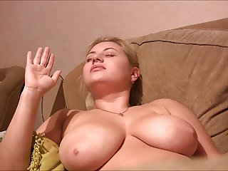 russian blondie with huge brest get facial