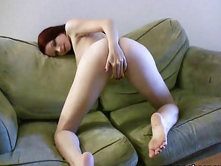 Tattooed redhead striptease solo dildo