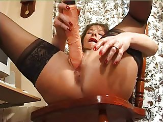 Holly dildo in both holes - dirty whore!