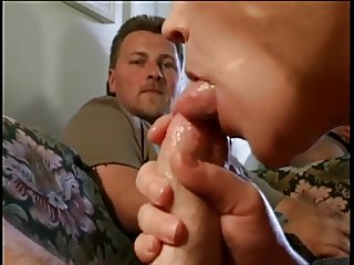Husband looks on as his wife rides another mans cock