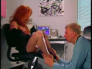 Guy licking slut's nylon clad feet