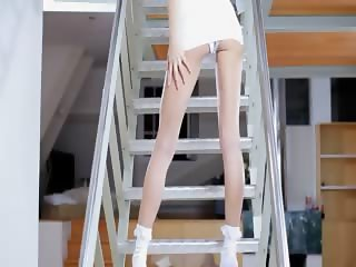 Skinny Jasmin girl toying on the stair