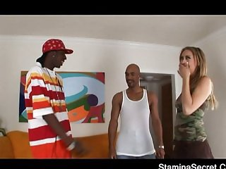 Hot Blonde fucked by two blacks