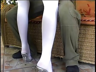 Blondie in short skirt blows dude and gets fingered in the ass