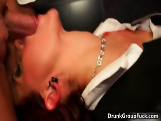Horny drunk girl is blows hard cock part5