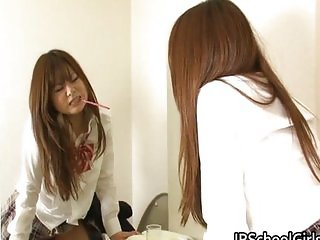 Hot Japanese school girl has a morning squirt