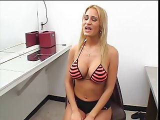 Hot blonde with perfect tits is a cocksucking specialist