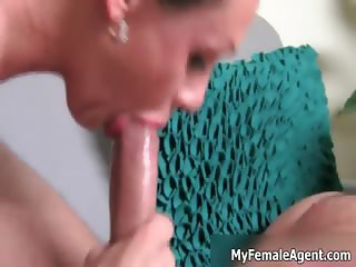 Sexy brunette female agent gets her part1