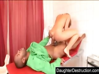 Blonde daughter anal abused