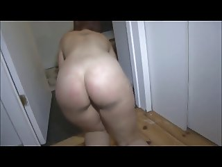 Butt Ass Naked Girl scrubbing floor with dirty ass feet