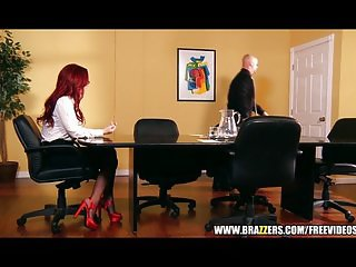 Sexy redhead businesswoman closes big deal