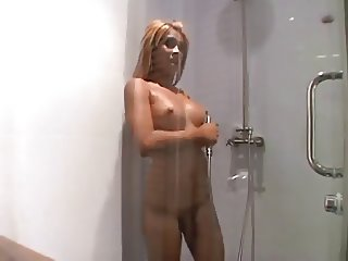 Blonde Asian ladyboy fucked by a dude.