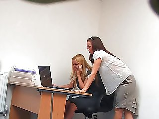 Lesbian Secretaries During the Lunch Time (Hidden Cam Fake)