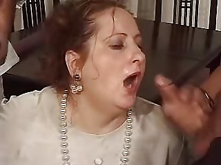 Mature gets mouth full of cum