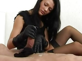 handjob black gloves