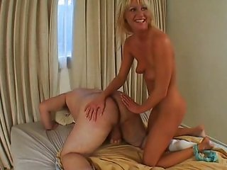 Horny Ashley blows fat dick