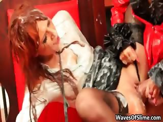 Horny busty blonde babe with huge cock part5