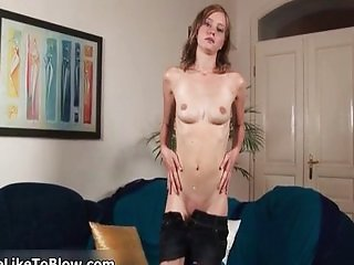 Cute blonde babe goes crazy rubbing her