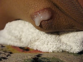Humping and cumming in pantyhose, close-up view