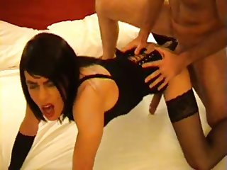 TV and guy trade BJs and then he fucks her