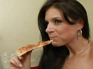 The pizza delivery girl.