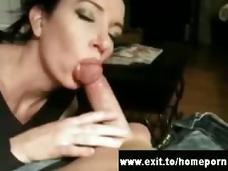 Housewives sucked and cummed on at home