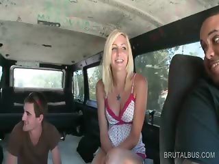 Blonde hottie talked into good sex in the bus