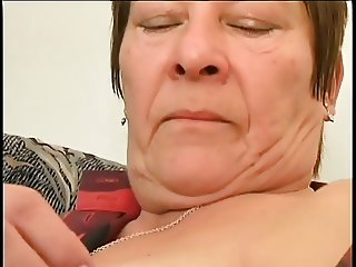 chubby granny with the hairy cunt is satisfying by young