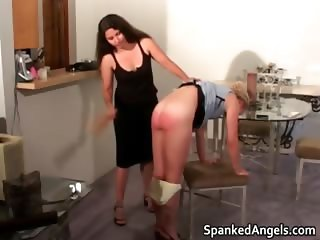 Blonde MILF gets bent over knees to get part1