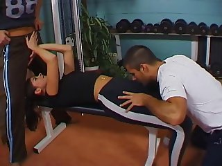 Anal sex & DP in a gym with final footjob & jizz on her feet