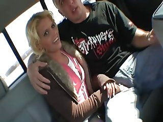 Blonde slut fucked in a van on the road