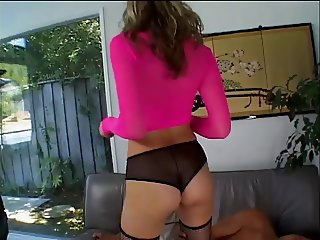Fat ass blonde in sockings gets ass and pussy licked on couch