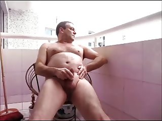 Wanking naked on display