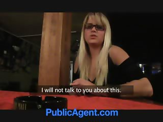 PublicAgent Blonde cafe waitress takes it in the toilet