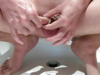 Ring cock and condom, putt condom on cock and balls, cumshot